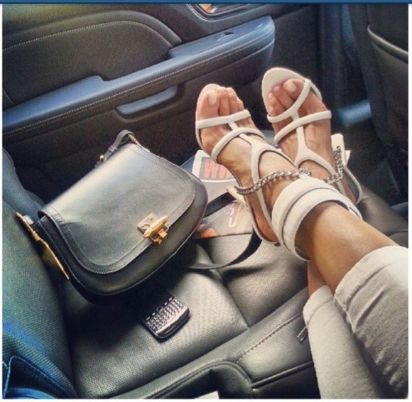 high heels sweatpants shoes grey purse bag