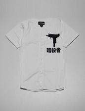 shirt,white,jersey,uzi,asian,swag,t-shirt,tumblr,grunge,cool,lean,gun,dope,white top