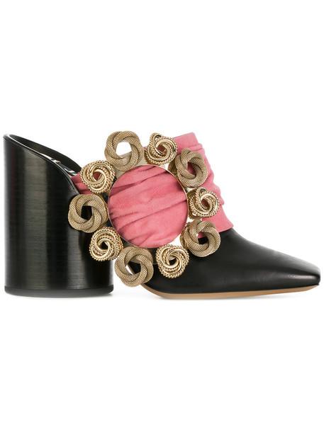 Jacquemus heel women mules leather black shoes