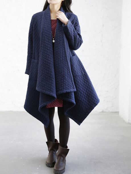 jacket women  jacket cloak coat dark blue jacket