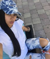hat,india westbrooks,ill nation,illy,the illest,denim,uzi,white t-shirt,ripped shorts,blue jeans,white,summer outfits