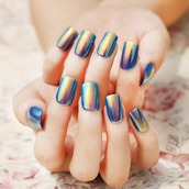 nail polish,halographic,blue,shiny,metallic nails,nails,cute