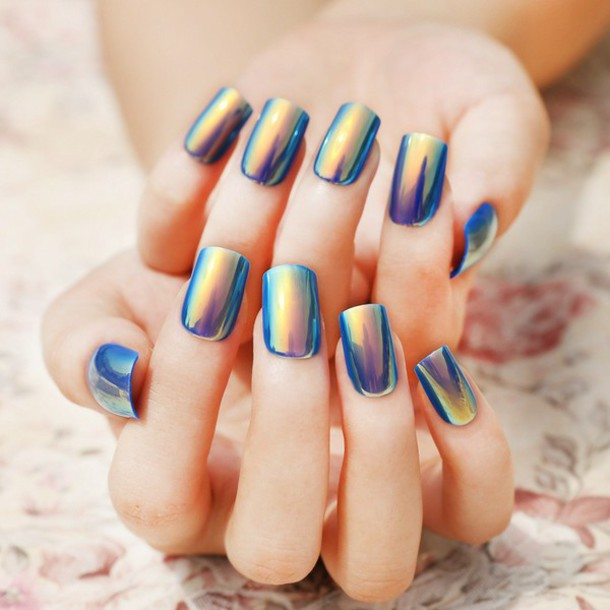 nail polish halographic blue shiny metallic nails nails cute