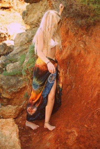 skirt tie dye tie dye maxi skirt maxi skirt hippie bohemian boho boho chic