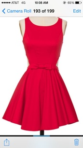 dress,red cut-out back buttons bow
