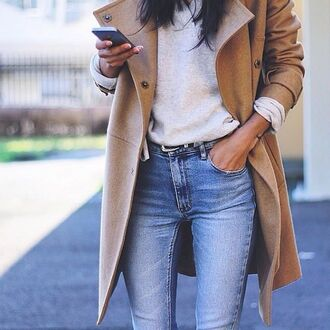 coat jacket beige tan brown fall outfits winter outfits casual