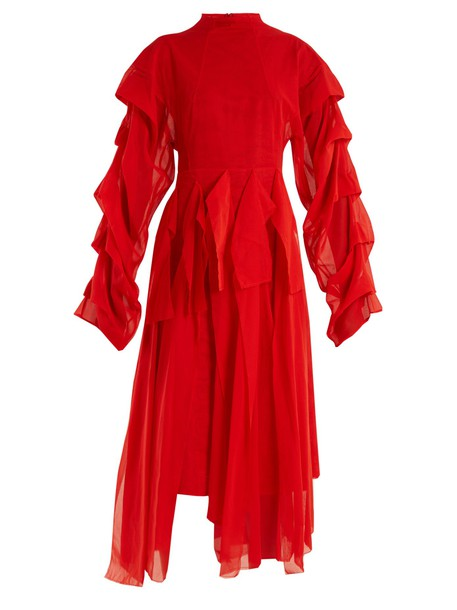 A.W.A.K.E. dress octopus draped cotton red