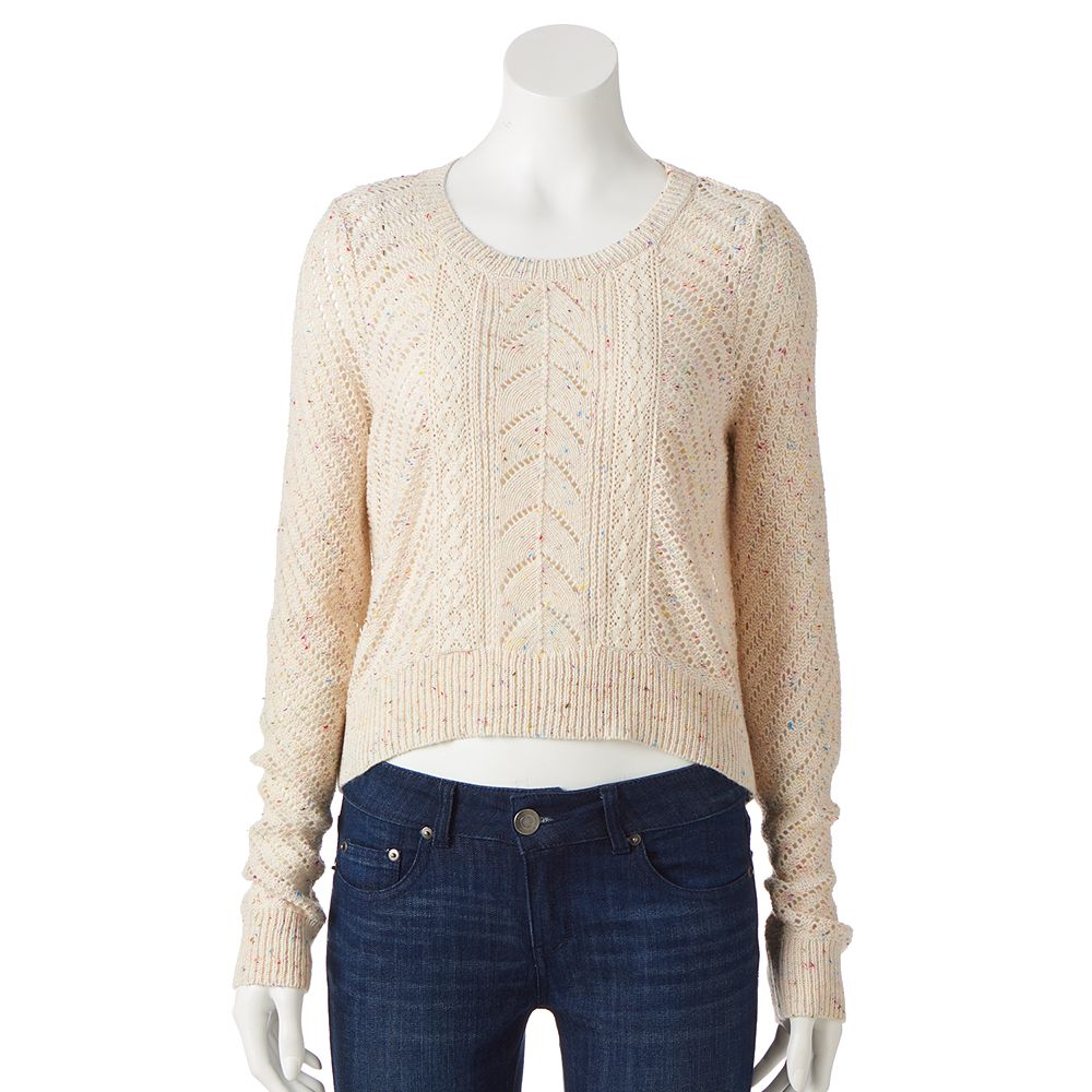 Lc lauren conrad crop pointelle sweater