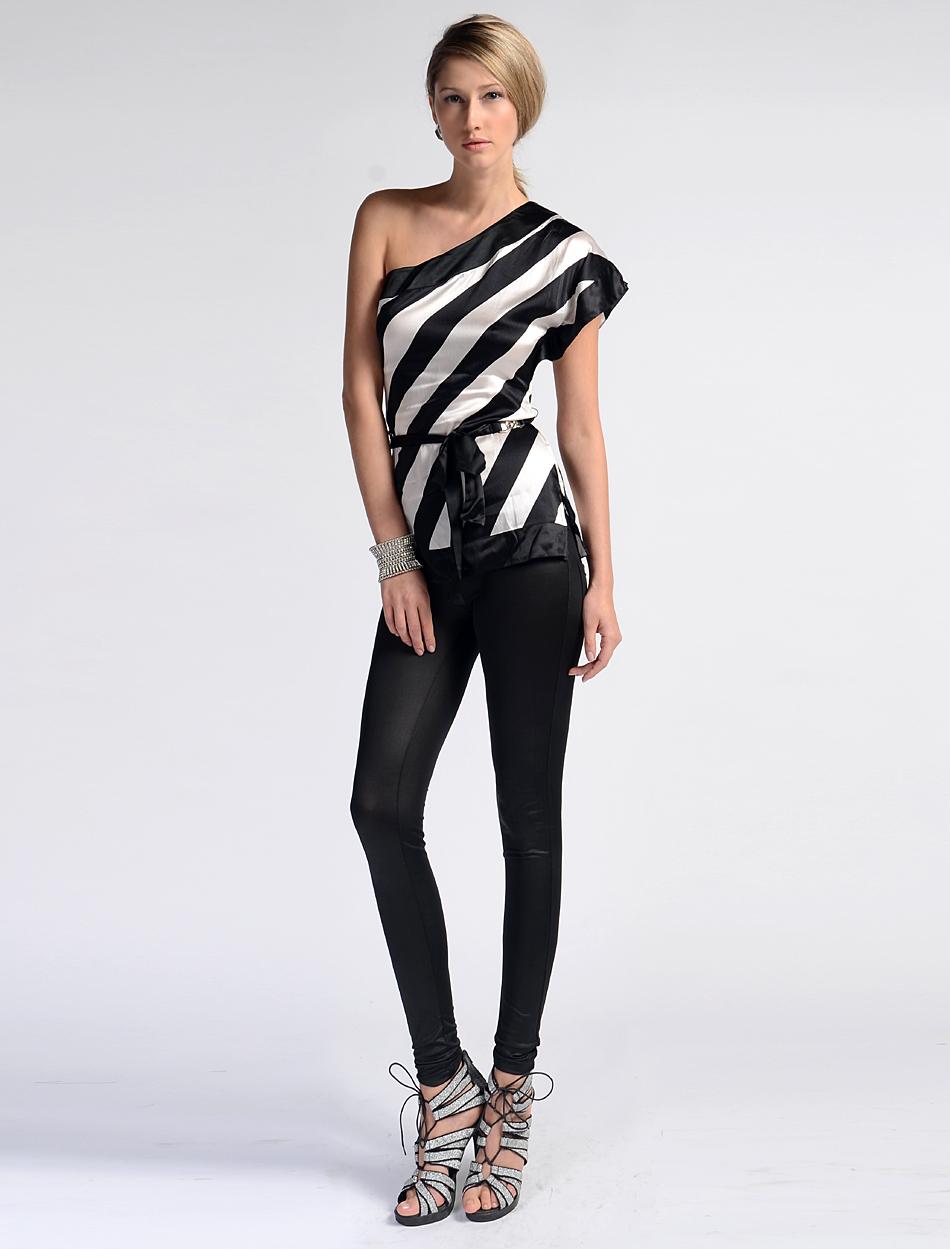 16980462d4715 Be be cs 0307 01 black and white stripe one shoulder elastic silk satin ...