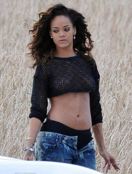 rihanna tank top black crop tops