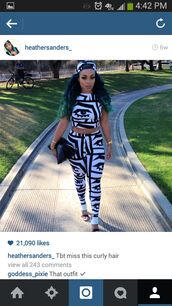 pants,trendy,spring summer 2014,summer outfits,black and white,american apparel leggings,matching set,crop tops,tribal pattern,tribal fashion,fashion,cute outfits,fashion top shorts summer bag hat hot clothes,snapback,heather sanders,last kings,trends 2014,tyga