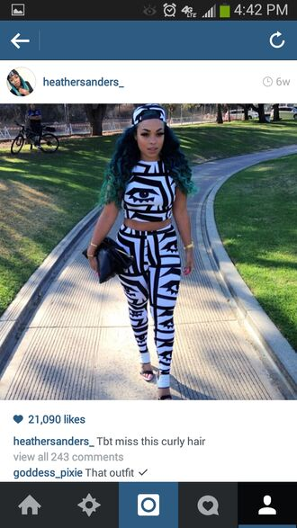 pants trendy spring summer 2014 summer outfits black and white american apparel leggings matching set crop tops tribal pattern tribal fashion fashion cute outfits fashion top shorts summer bag hat hot clothes snapback heather sanders last kings trends 2014 tyga