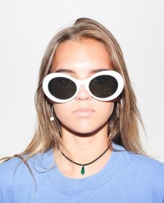 sunglasses glasses sunnies white white sunglasses oval sunglasses round sunglasses retro sunglasses 90s style 90s grunge accessories accessory