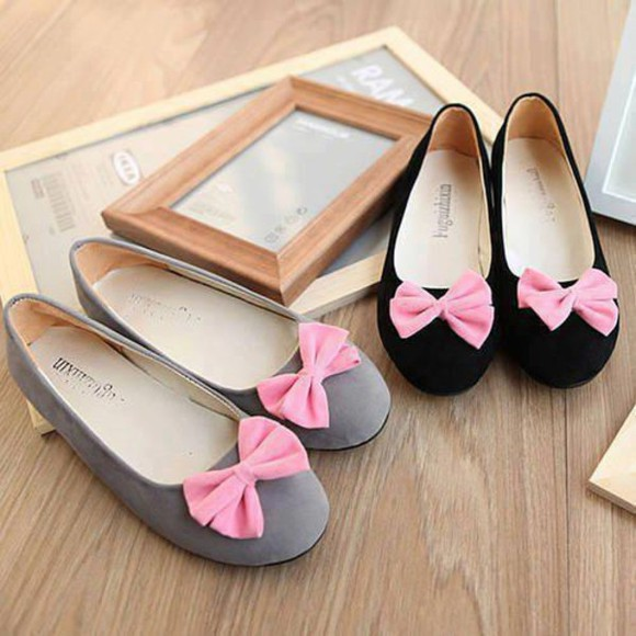 shoes flat bow flatshoes