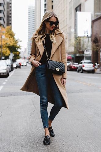 fashionjackson blogger coat sweater shoes bag sunglasses chanel bag beige coat loafers