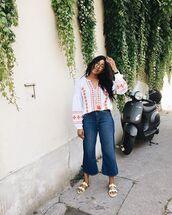 jeans,denim,flats,shirt,top