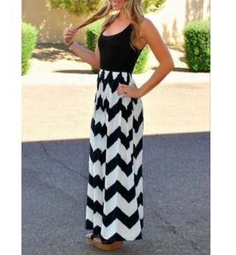Chevron Sweetheart Maxi Dress