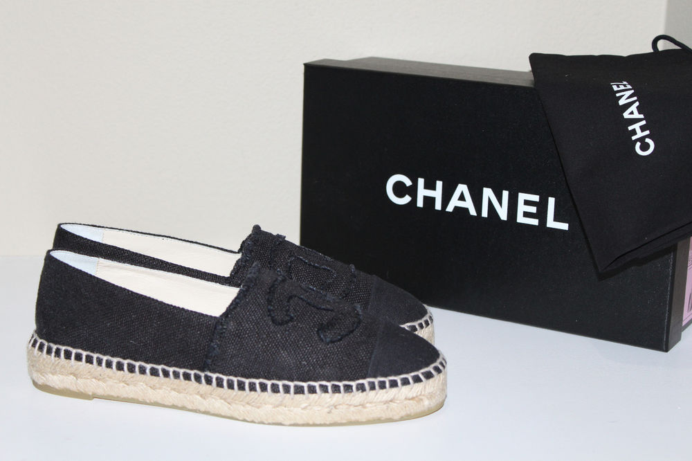 New chanel black canvas cap toe espadrilles flat cc logo slip on shoes sz 6 37