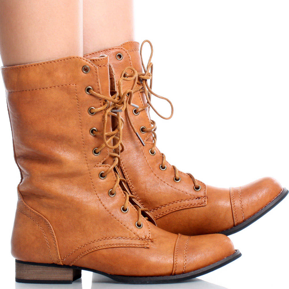 Brown Round Toe Lace Up Combat Military Womens Flat Ankle Boots ...