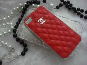 Iphone 4 4s 5 chanel red leather chrome by debbieshandmadestore