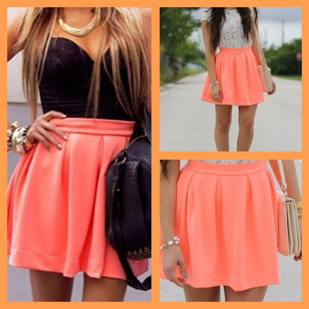 Skirt: fluo, neon orange, neon high waisted skirt, orange skirt ...