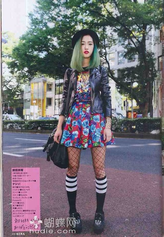 dress fashion floral leather jacket kawaii kawaii dark kawaii grunge black mesh shoes bag outfit hat japanese streets japanese socks jacket