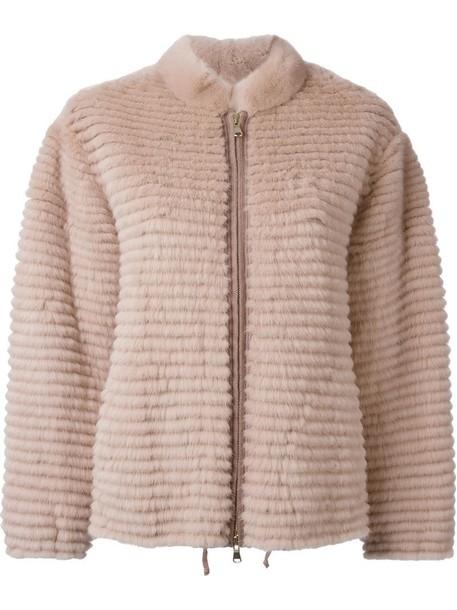 jacket fur jacket fur zip purple pink