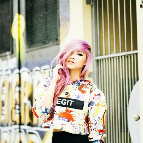 3b453447fa8 hair pink cartoon crewneck chinese dope photography printed sweater legit bucket  hat swag pastel hair sweater