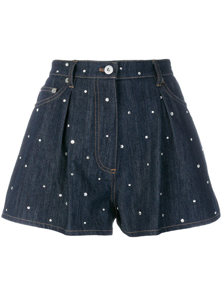 Miu Miu shorts denim shorts denim metal embroidered women cotton blue