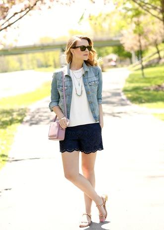 pennypincherfashion blogger jacket tank top shorts shoes bag jewels shoulder bag denim jacket lace shorts sandals spring outfits