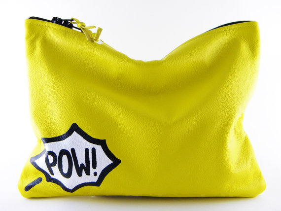 Comic Leather Statement Clutch by lovecortnie on Etsy