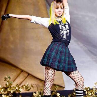 skirt k-pop plaid skirt mini skirt