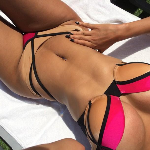 swimwear bikini bikini bottoms bikini top pink black hot pink brown sexy nude strappy matching set stripes summer brown black pink beige swimwear pink swimwear black swimwear bottoms top