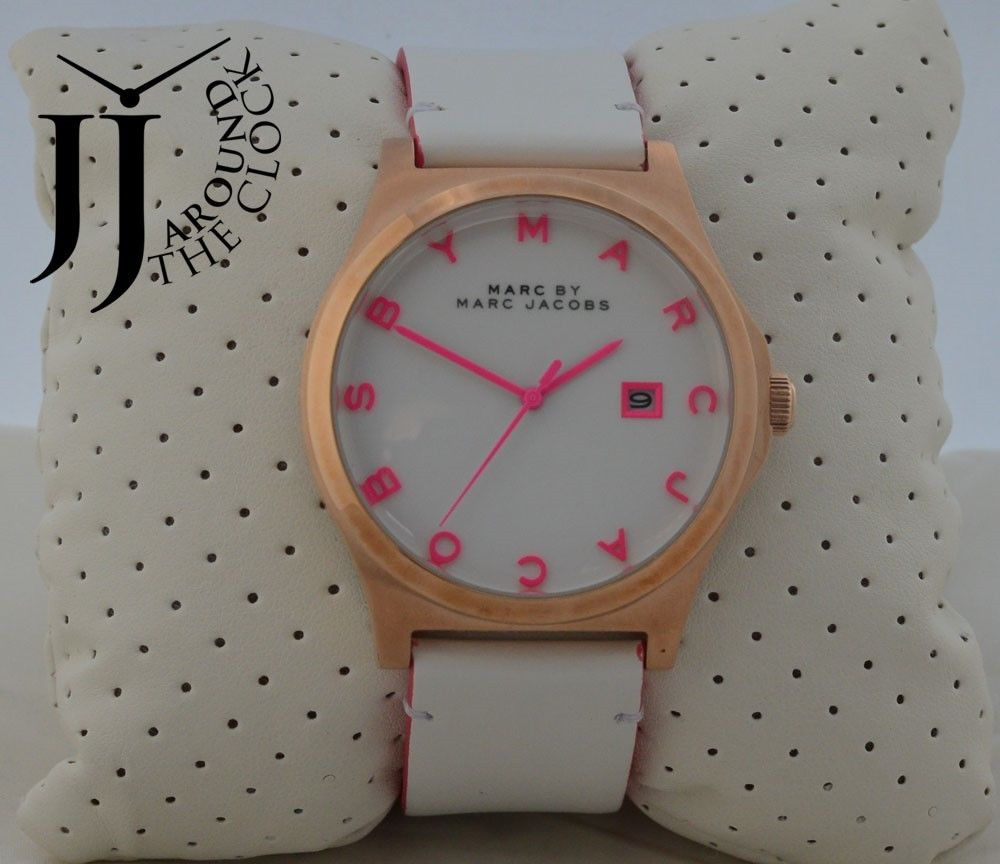 New marc by marc jacobs oversize henry white leather hot pink watch mbm1248
