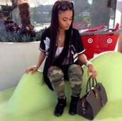swag,dope,2nd fashion idol,india westbrooks,top,india love,bag,pants,camo pants,sweater