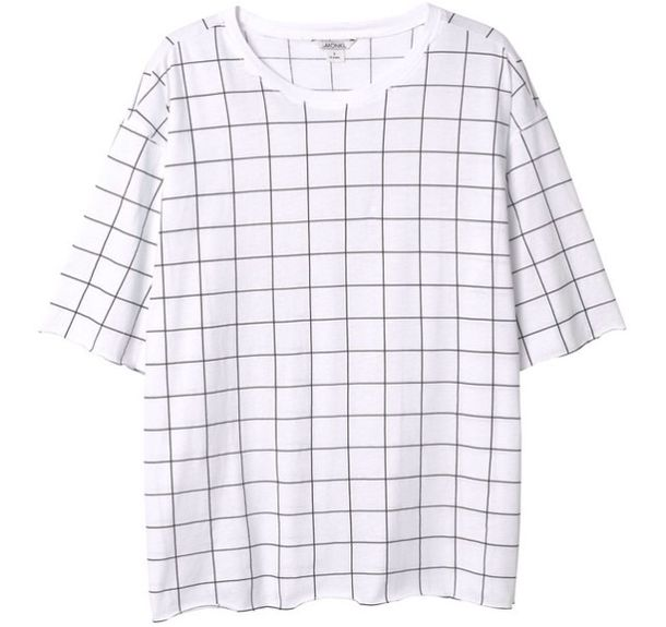 T-shirt: white, black, grid - Wheretoget