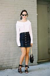 vanessa jackman,blogger,blouse,top,shirt,skirt,shoes,caged sandals,sandals,sandal heels,denim skirt,mini skirt,blue skirt,white shirt,black sunglasses,black bag,summer outfits
