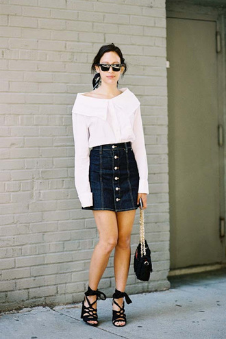 vanessa jackman blogger blouse top shirt skirt shoes caged sandals sandals sandal heels denim skirt mini skirt blue skirt white shirt black sunglasses black bag summer outfits