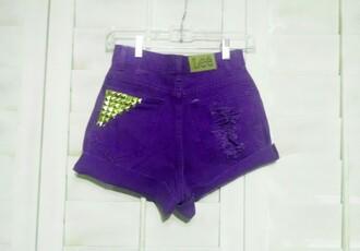 shorts purple highwaisted distressed colorful vintage custom