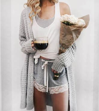 carly cristman blogger pajamas shorts sweater cardigan