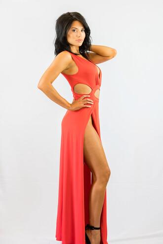 dress sexy cut-out maxi dress orange summer fashion style hot spring freevibrationz