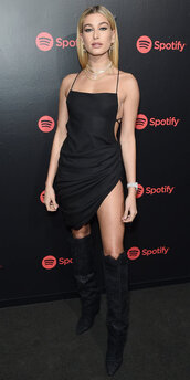 dress,black dress,mini dress,backless dress,backless,hailey baldwin,model off-duty,boots
