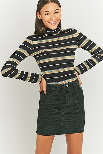 Urban Outfitters Rainbow Striped Black Lurex Turtleneck Top - Urban Outfitters