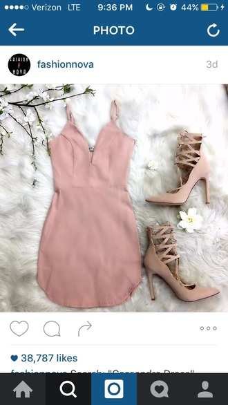 dress pink black dress white short heels