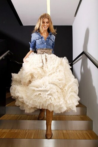 tutu maxi skirt skirt clothes country cute white blue shirt belt shoes tulle skirt western wedding wedding dress blouse dress cream ruffles western wedding skirt white ruffles ruffled skirt white tulle skirt white ruffle skirt fun flirty skirt country dress country style country skirt