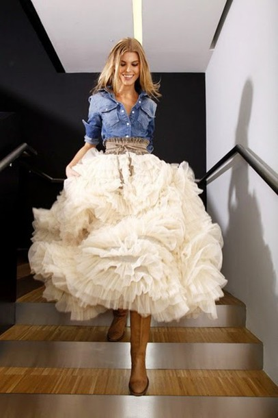 Western Dress with Tulle