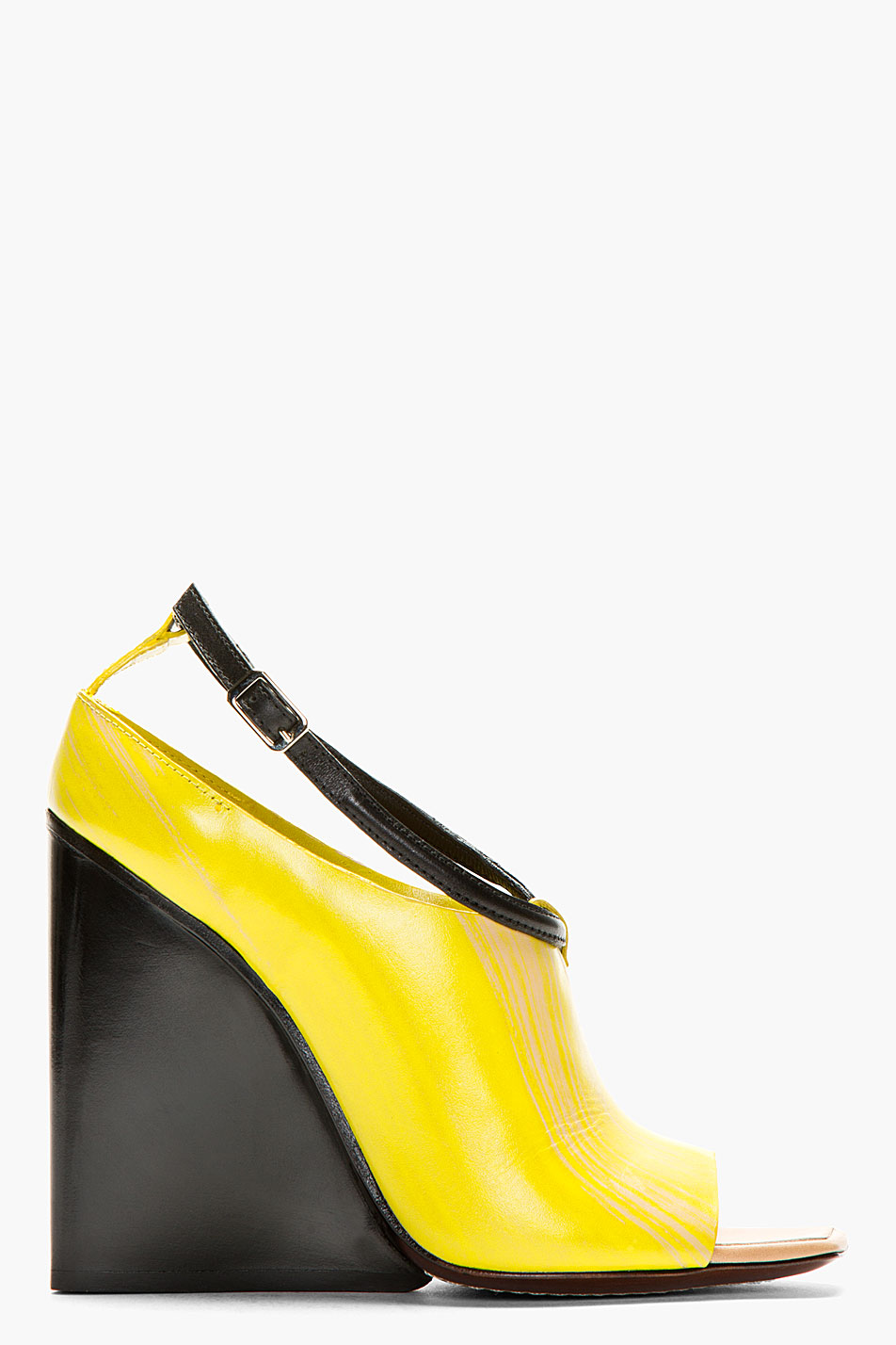 Costume national yellow tapered wedge heels
