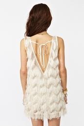 dress,fringed dress,white dress,cream dress,tassel
