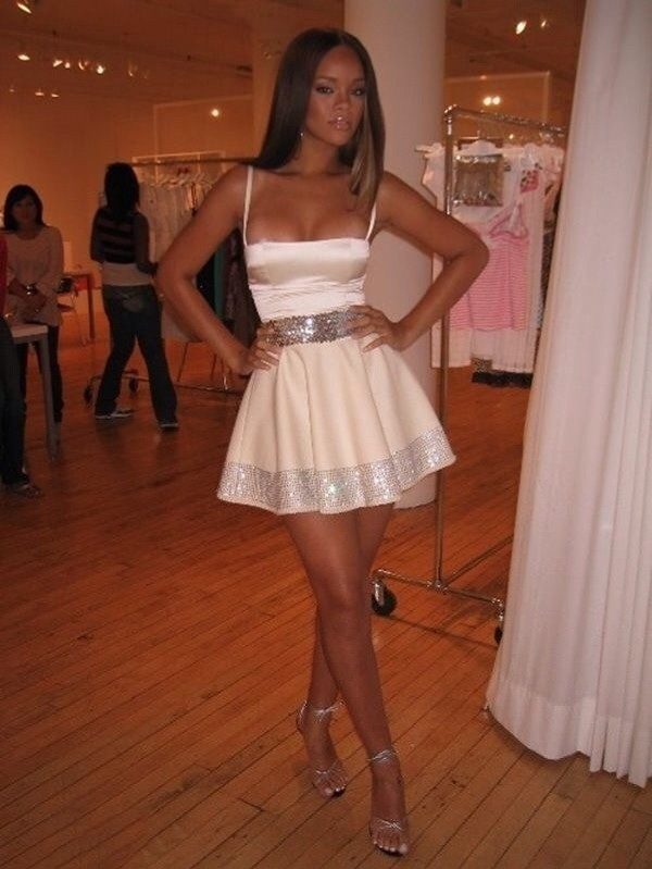 dress rihanna white dress formal dress