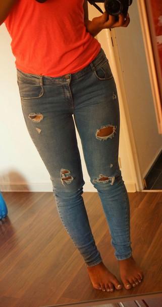 jeans zara zara trf ripped jeans